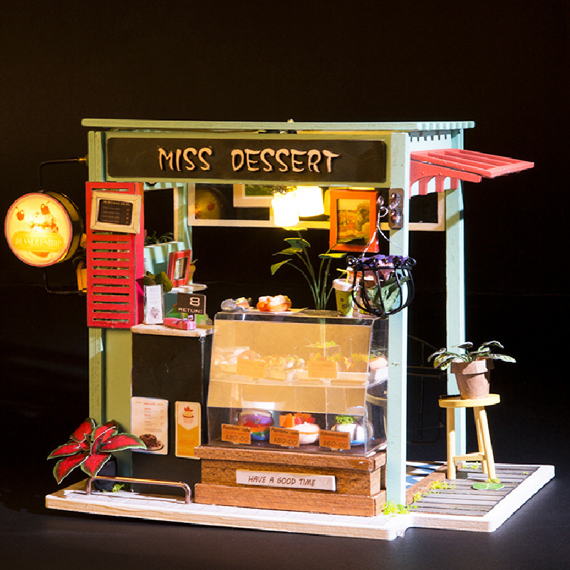 Diy Model Doll House Miniature Dollhouse With Furnitures Led 3d Wooden House Toys For Children Birthday Handmade Crafts Dgm06 #e Good For Energy And The Spleen Dolls & Stuffed Toys Doll Houses