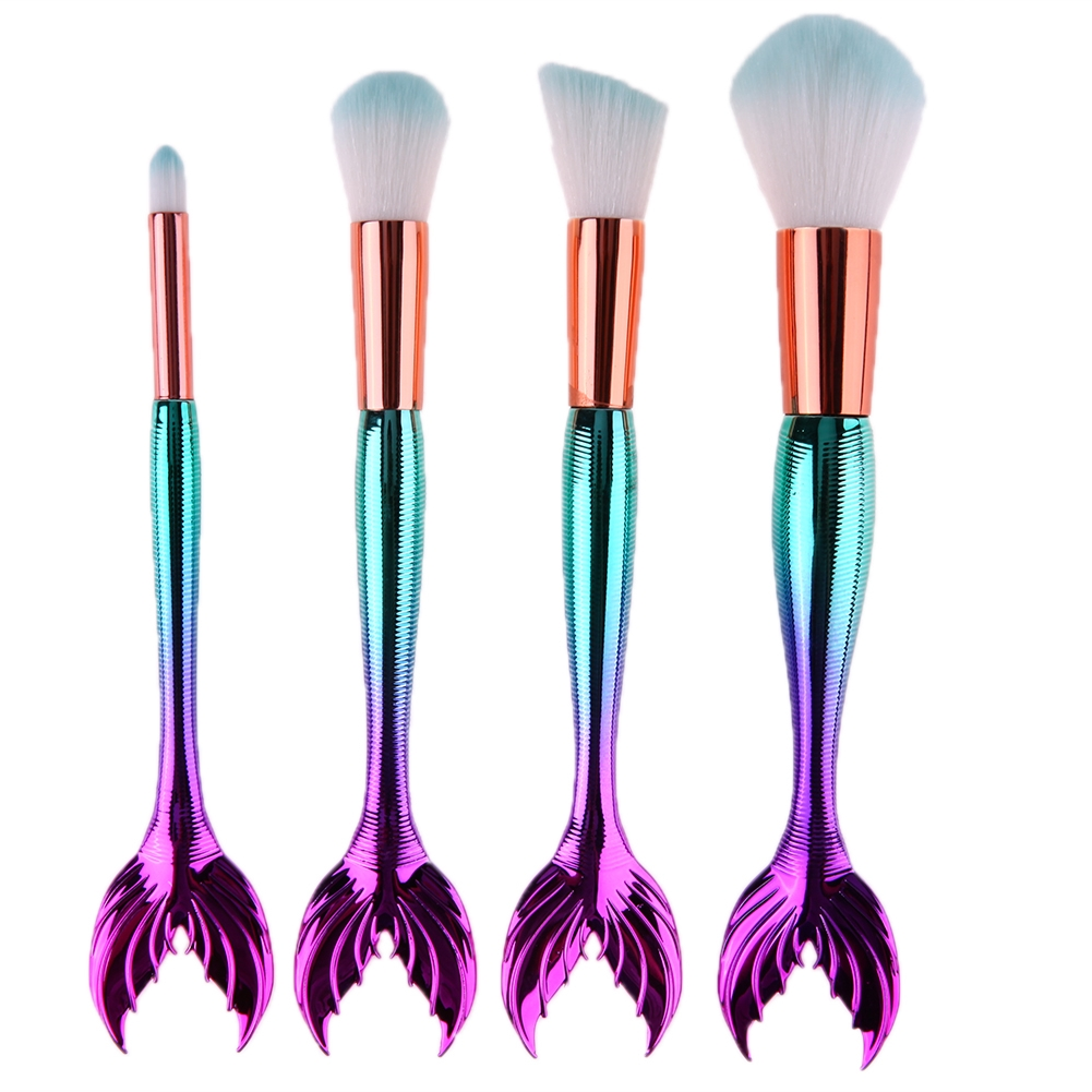 4pcs Mermaid Makeup Brushes Set Foundation Blending Powder Eyeshadow Concealer Blush Cosmetic Gradient Make Up Kit Maquiagem 6pcs mermaid makeup brushes powder eyeshadow eyebrow blush blending make up tool fishtail cosmetic brush set 10sets lot os0414