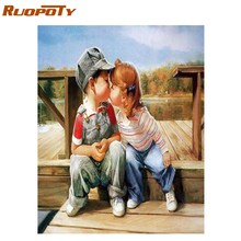 RUOPOTY Frame Childhood DIY Painting By Numbers Wall Art Canvas Painting Kits Coloring By Numbers Handpainted For Artwork 40x50