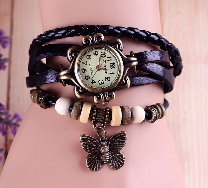 Leather Vintage Quartz watch women ladies Butterfly Pendant clock fashion Bracelet wrist watch relogio feminino T5197 rigardu fashion female wrist watch lovers gift leather band alloy case wristwatch women lady quartz watch relogio feminino 25
