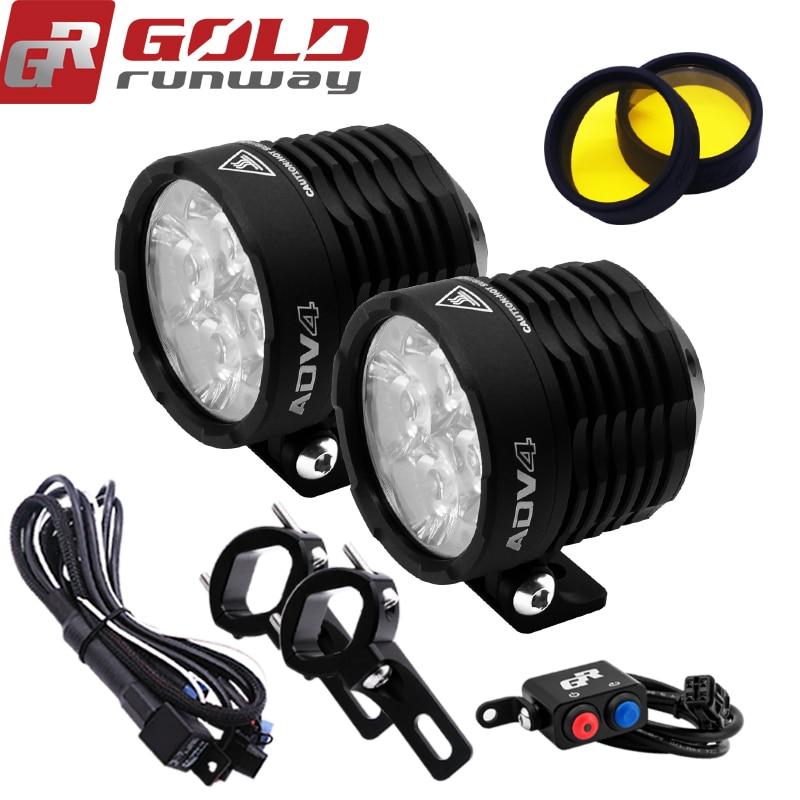GOLDRUNWAY Moto 32 W LED Flood Spot Faisceau 6000 k Lampe Auxiliaire Moto LED Phare accessoires de voiture travail brouillard lumière