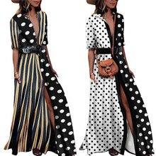 Женское длинное Макси-Платье с разрезом, в полоску, в горошек, плюс размер, для вечеринки, пляжный сарафан, половина рукава, платье с отворотом, с поясом, Vestido
