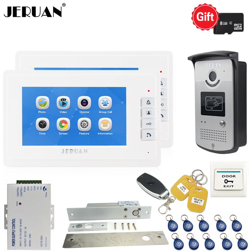 JERUAN New 7`` LCD Screen Video Door phone Voice/Video Recording Intercom system kit 2 White Monitors + RFID Access IR Camera 7 video recording lcd screen video door phone intercom 3 screens rfid code ip65 strong waterproof home security ccd camera