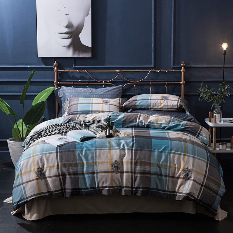 Egyptian cotton soft bed set king queen plaid stripe Bedding set
