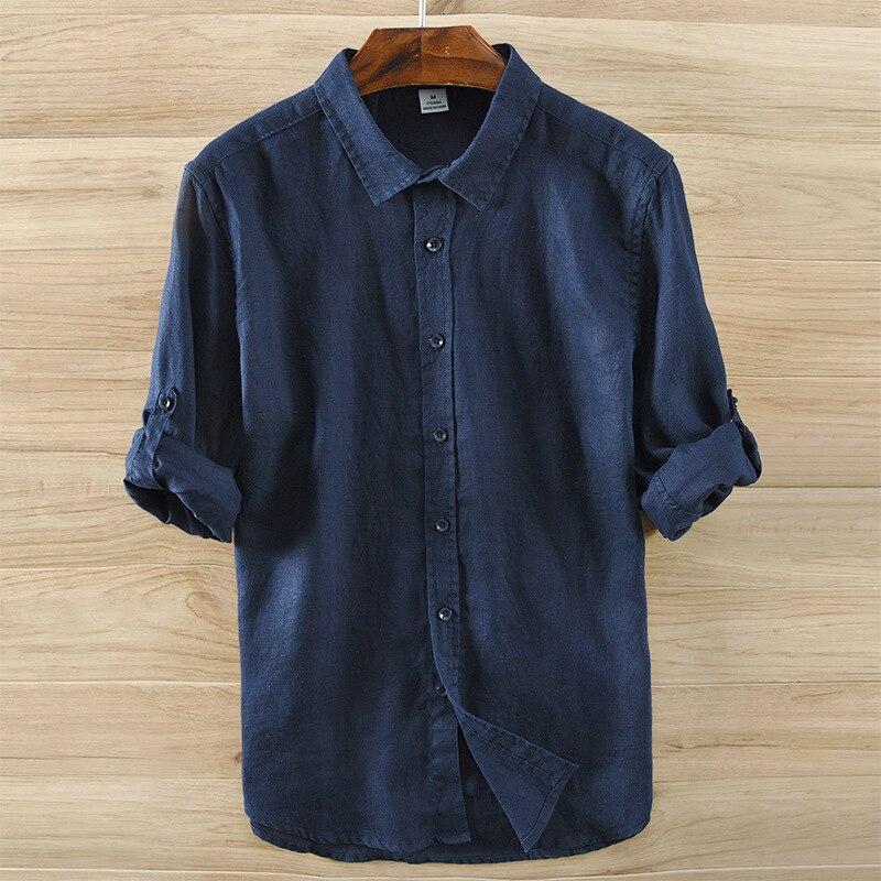 online store 81d57 75189 US $23.49 13% di SCONTO|2017 Nuovo Arrivo Camicia di Lino Uomini Solido  Verde Lungo Shirt Mens 100% di Lino Casual Uomini Camicette di Marca  Morbido ...