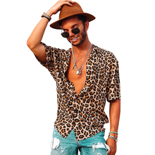 Mens Fashion Leopard Print Short-sleeved Shirt Casual Turn-down Collar Males Top D40