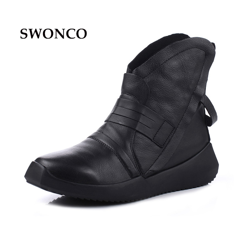 Retro Las black De Botas Zapato Mujer Autumn Cuero Invierno Swonco Botines Winter 2018 Toe Otoño Genuino Mujeres Señoras Plush Black w75EEAqxT