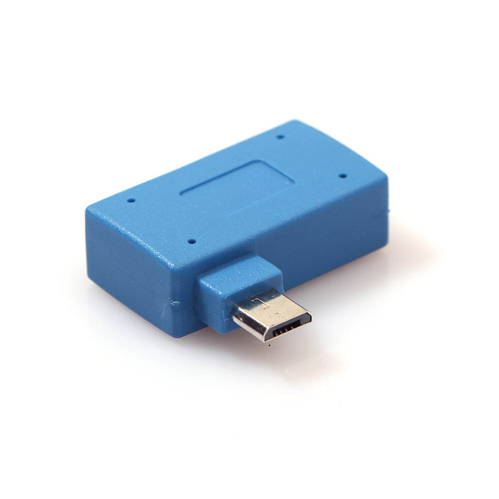 1pc Micro Left Turn Rechargeable OTG Adapter Micro USB 2.0 OTG Host Adapter With USB Power Blue For Mobile Phone Tablet