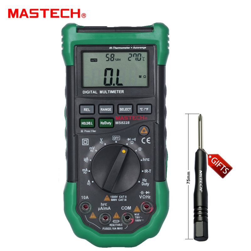 ФОТО MASTECH MS8228 ADigital Multimeter Non-Contact IR Thermometer Relative Humidity Tester utomatic range 4000 Counts