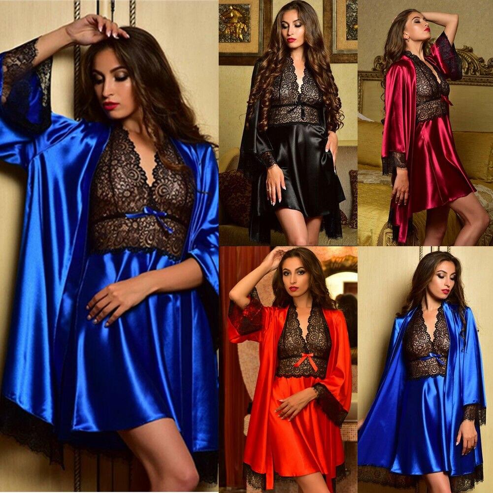 Frauen Sexy Satin Seide Nachthemd Dessous Nachtwäsche Robe Nachthemd Kleid 2PCS