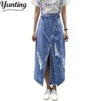 yunting Ladies irregular Front Slit Elegant Denim Skirts Suspender Split Saias Summer Ripped Womens Skirt Jeans Jupe Hole
