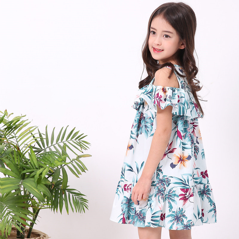 2018 Summer Evening Dress for Big Girls Teens Flower Leaf Beach Frocks Ins Hot Design Pattern for Age 56789 10 11 12 Years Old 2017 autumn girls blouse ruffle hem flare sleeves blue striped letter design for teens at age 56789 10 11 12 13 14t years old