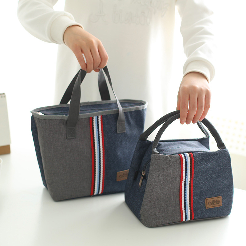 Denim Zipper Kids Lunch Bags Family Picnic Handbag Box Mummy Insulated Pack Drink Food Thermal Ice Cooler Pouch Accessories
