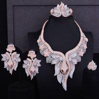 GODKI 425mm Luxury 2 Tone Rose Gold Snake Princess Flower Women Wedding Cubic Zirconia Dress Necklace Earring Dubai Jewelry Set