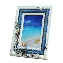 Wood Sea Style Photo Frame Figurine Miniatures Home Decoration Accessories Resin Craft Kids Toy Christmas Gift Present(China)