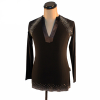 Classical Latin Dance Tops for Male Black White Shirt Professional Men Ballroom Beauty Competitive Tango Standard Wears N7033