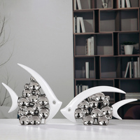 Couple Kiss Fish Vase Modern Ceramic Furnishing Articles For Living Room Home Decoration Silver Bubble