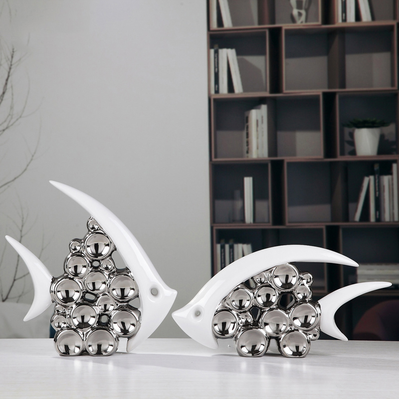 product Bouble Couple Kiss Fish Vase Modern Ceramic Furnishing Articles For Living Room Home Decoration Silver Bubble