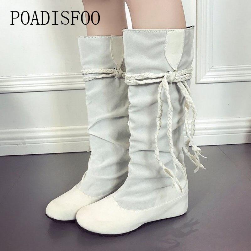 2018 Autmun Women knee Boots round flat-bottomed boots Tassels anti-skid Plus size women's boots Bohemia boots HYKL-1188 round flat bottomed sweet bowknot short boots