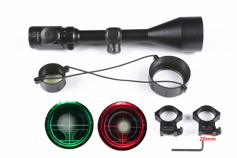Hunting Rifle Scope 3-9X56 EG Red Green Mil-dot illuminated Optics Sniper Scope Sight Picatinny Rail Mount 20mm Hunting caza 4x 30mm red green mil dot reticle rifle scope with gun mount black 3 x ag13 1 x cr2032
