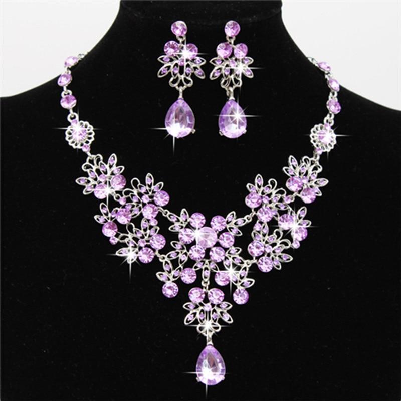 Bridal Jewelry Necklace Earring Set Rhinestone Wedding
