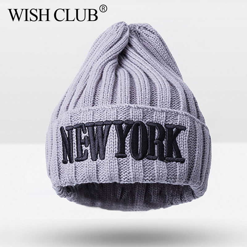 NEWYORK Letter Skullies Beanies Kids Beanies Cap For Infant Knitted Hat Toddler Warm Winter Cap For Girls Boys Baby Accessories skullies