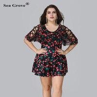 Plus Size Tankini Flower Sheer Two Piece Set Padded Large Swimwear Backless Bathing Suit Mesh Beach Dress Wear Women Swimsuit