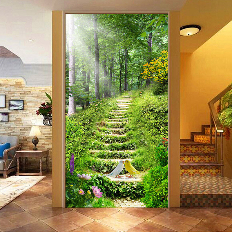 Chinese style nature landscape step photo mural wallpaper for Hotel entrance decor