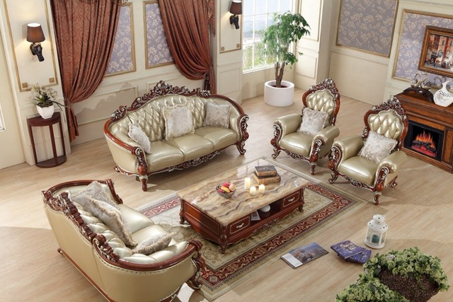 Luxury European Leather Sofa Set Living Room Sofa China Wooden Frame  Sectional Sofa 1+1