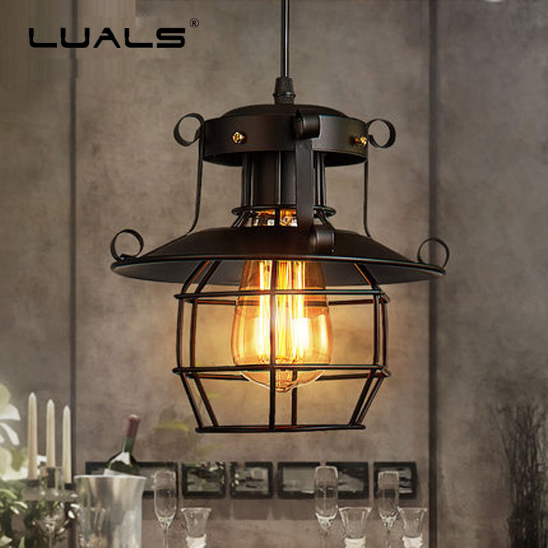 Loft Hanging Lamp Restaurant Light Fixtures Iron Lampshade Suspension Luminaire Industrial Style Pendant Lighting Edison Lamps new loft vintage iron pendant light industrial lighting glass guard design bar cafe restaurant cage pendant lamp hanging lights