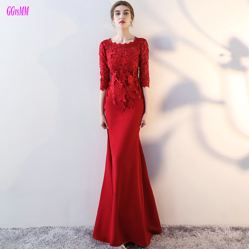Sexy Burgundy Mermaid Evening Dresses Long 2018 Evening Dress Plus Size O-Neck Elastic Satin Lace women Formal Party Gowns Cheap