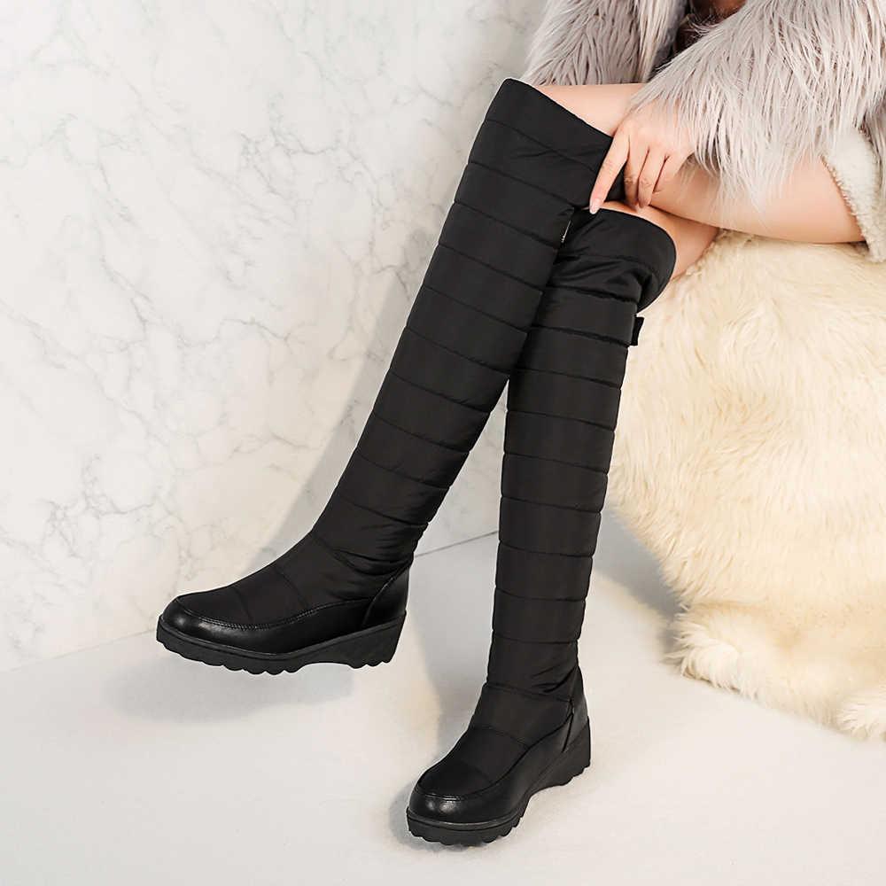 Meotina Kış Kar Botları Diz çizmeler kadın ayakkabıları Kürk Uzun Çizmeler Peluş Platformu Kama Topuk Çizmeler Bayanlar Büyük Boy 35 -44