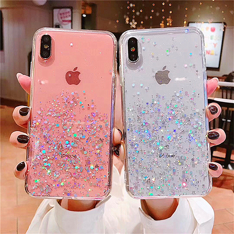 HTB1v6MBaBaE3KVjSZLeq6xsSFXad - Luxury Bling Glitter Stars Sequins Case For iPhone 11 Pro XS MAX XR X Transparent Silicone Case For iphone 8 7 6 6S Plus Cover