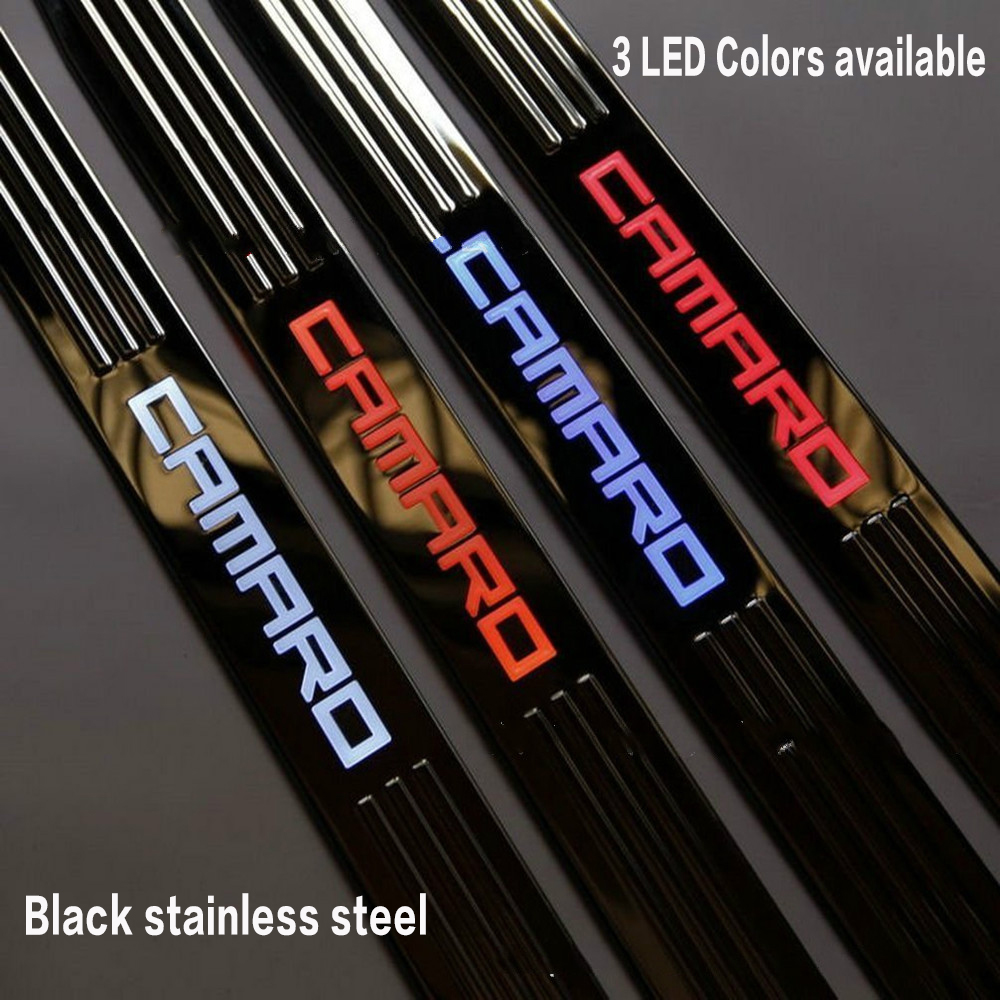 Black Stainless steel LED Light Door Sill Scuff Plate Cover for Chevy Chevrolet Camaro 2010 2011 2012 2013 2014 2015 car-styling free shipping 2015 byd s7 high quality stainless steel thicken scuff plate door sill
