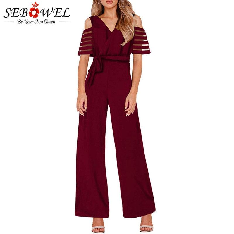 SEBOWEL Casual 2019 Women Wide Leg Belt Jumpsuit Romper Elegant Summer Female V neck Mesh Patchwork New Short sleeved Jumpsuits in Jumpsuits from Women 39 s Clothing