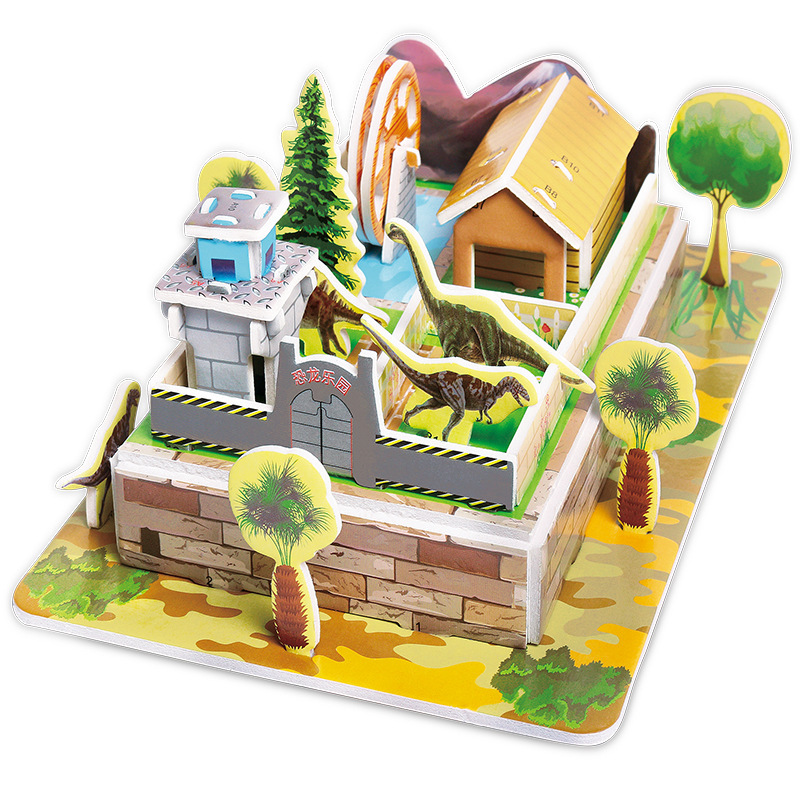 Children DIY 3D Assembled House Toy Manual House Simulation  Villa Puzzle Castle Building Fun Puzzle Foam Board For Kids Gift 3