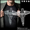 HOUSE MD snake cane men unisex straight cut short sleeve t shirt  o-neck 100% 180g  ringspun american cotton free shipping