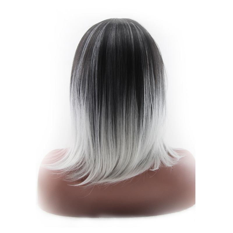 QQXCAIW Women  Medium Long Cosplay Party Black To Grey Ombre  45 Cm Synthetic Hair Wigs