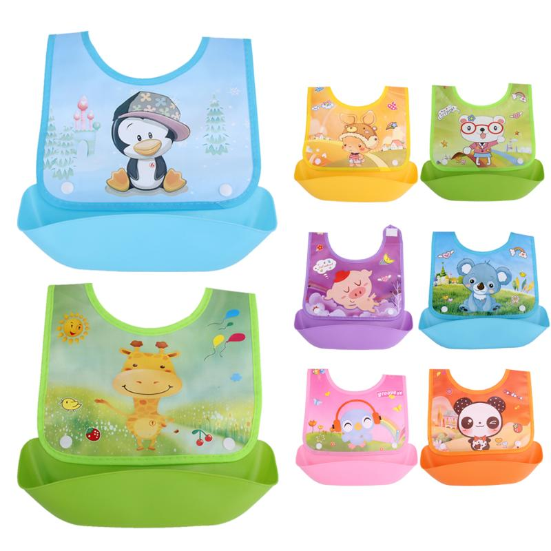 Baby Kids Cute Cartoon EVA Waterproof Silicone Children Bibs Boys Girls Infants Burp Clothes Feeding Care Baby Saliva Towel