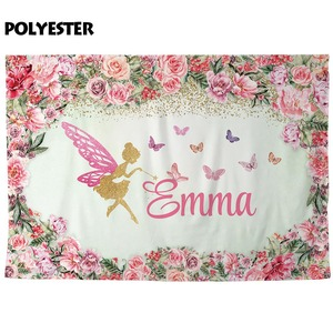 Image 4 - FunnyTree photography background pink flower frame Butterfly golden Custom name girl party birthday photozone backdrop elf vinyl
