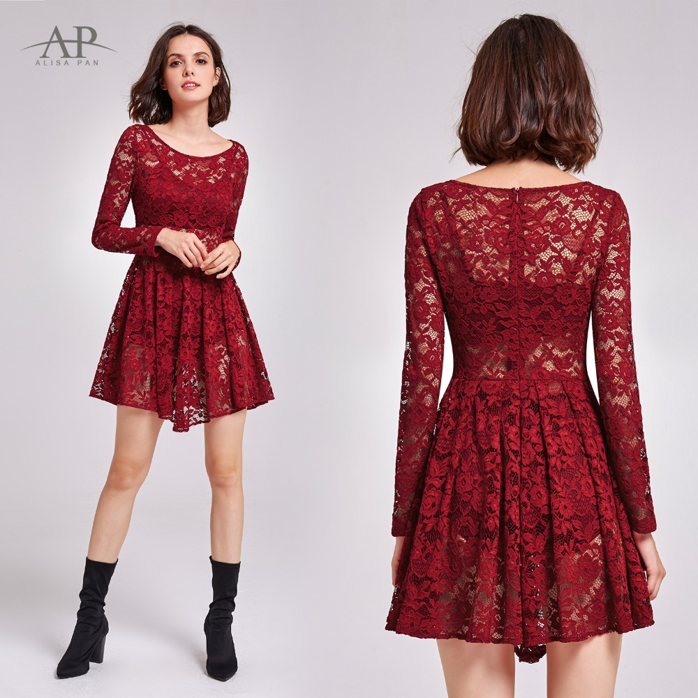 fc0476503a Women Summer Lace Casual Party Short Dress Alisapan AS05890 V Neck A Line  Burgundy Sexy Date vestidos Dress robe femme ete 2018-in Dresses from  Women's ...