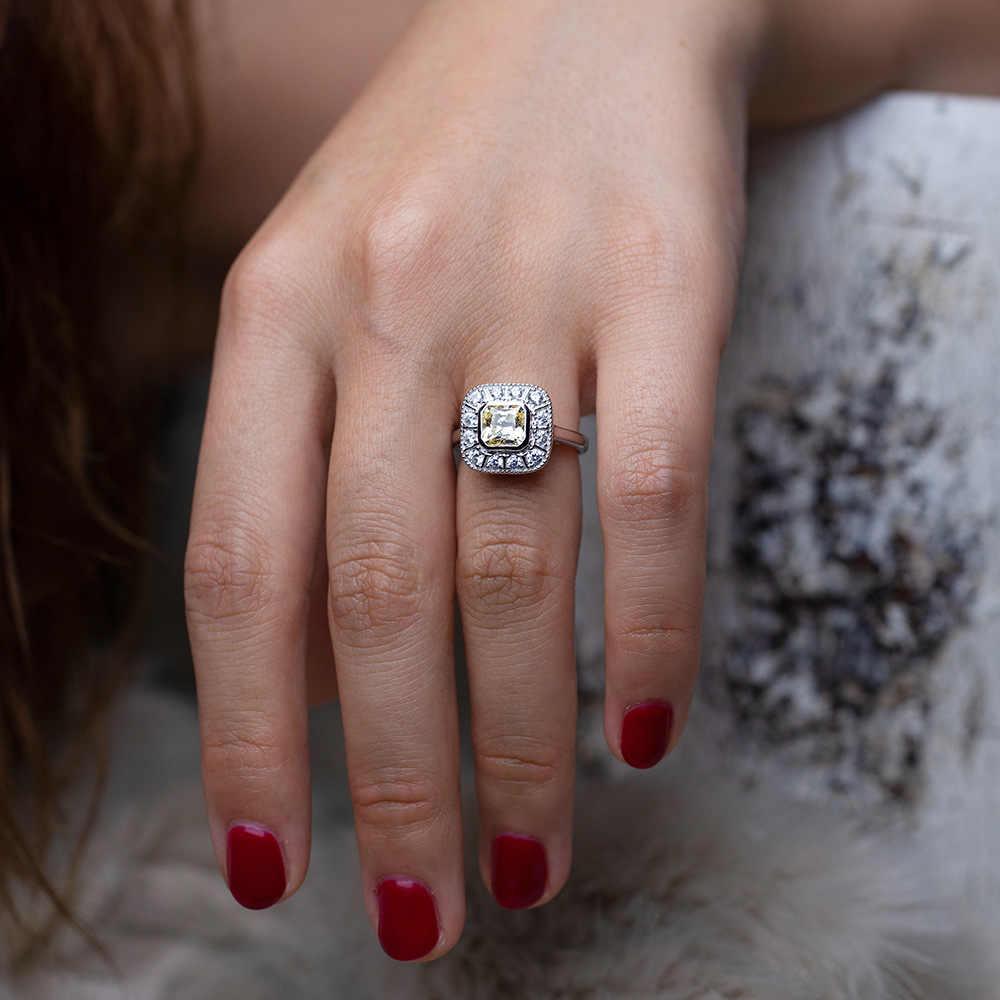 OneRain w stylu Vintage 100% 925 Sterling srebrny Sapphire Topaz cytryn diamenty ślub zaręczyny para kobiety mężczyźni kamienie pierścień biżuteria