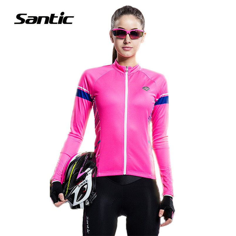 Santic Cycling Jersey Women Breathable Road Mountain Bike Jersey Long Sleeve Cycling Clothing MTB Bicycle Jersey Riding Shirt