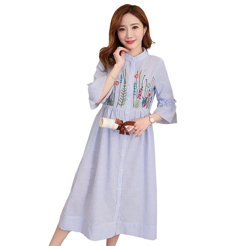 Embroidery Floral Maternity Clothes 2018 Novelty Pregnancy Dress Loose Chiffon Pregnancy Clothing Of Pregnant Women