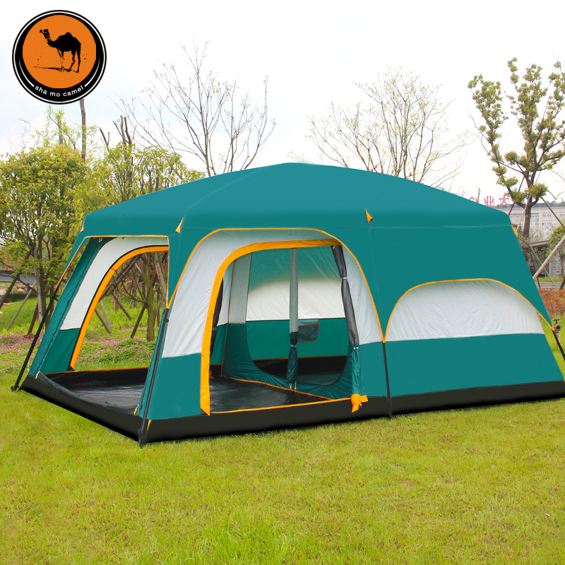 Ultralarge 8-12 person double layer high quality one hall two bedroom super strong waterproof windproof camping tent in one person