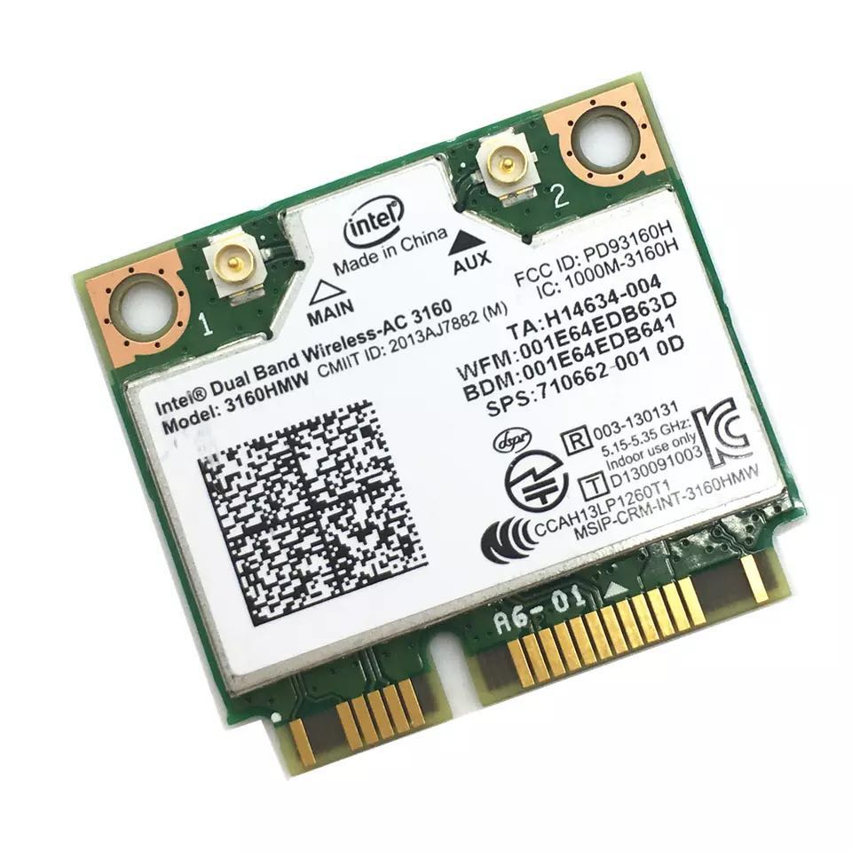 Image 2 - Dual Band Wireless AC For Intel 3160 3160HMW 802.11ac Wifi  + Bluetooth 4.0 Mini PCI e card 2.4G and 5Ghz 802.11a/b/g/n/AC-in Network Cards from Computer & Office