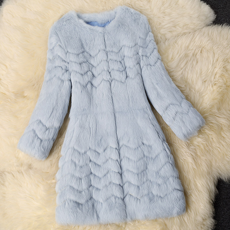 2016 New fashion embroidery wave cut whole skin natural rabbit fur coats women long slim cotton padded coat outerwear g8938