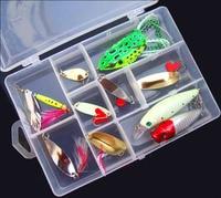 10 ADET Balıkçılık Balık Mix Cazibesi Kaşık Crankbait Minnow Popper Kurbağa cazibesi plastik kutu