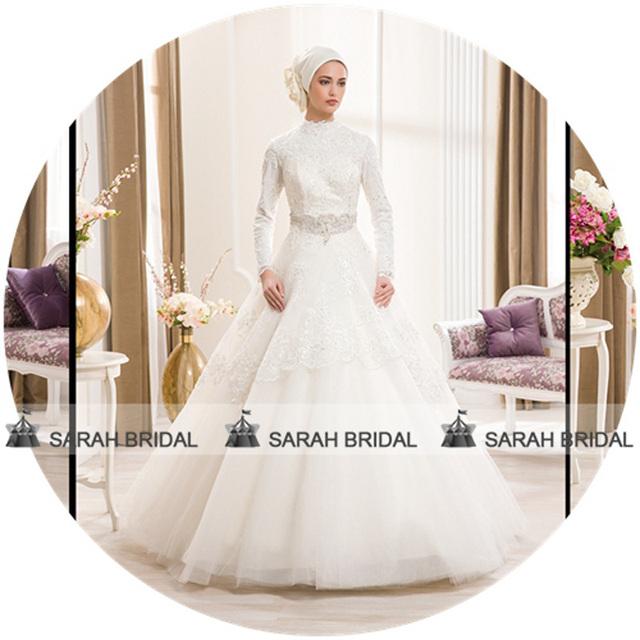 White Muslim Wedding Dress High Neck Long Sleeve Ball Gown Islamic