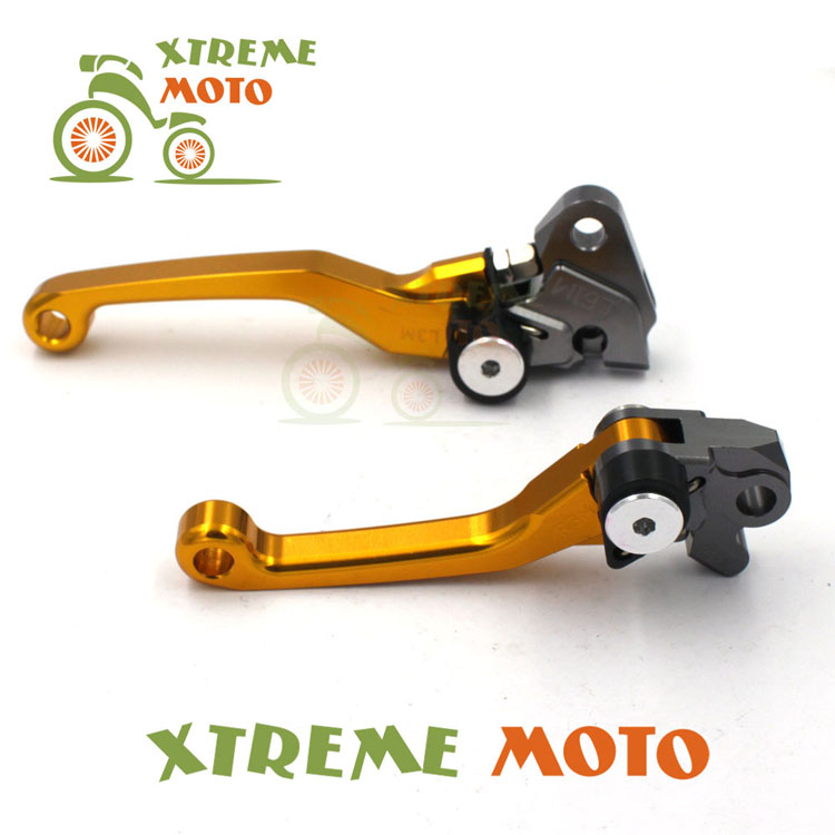 цены Gold CNC Aluminum Billet Pivot Foldable Brake Clutch Levers For Suzuki RMZ  250 Motocross Motorcycle Enduro Off Road Dirt Bike